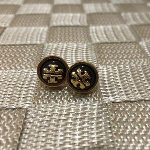 Tory burch black stud earrings with logo